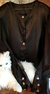 Anna G black button down w sheer sleeves